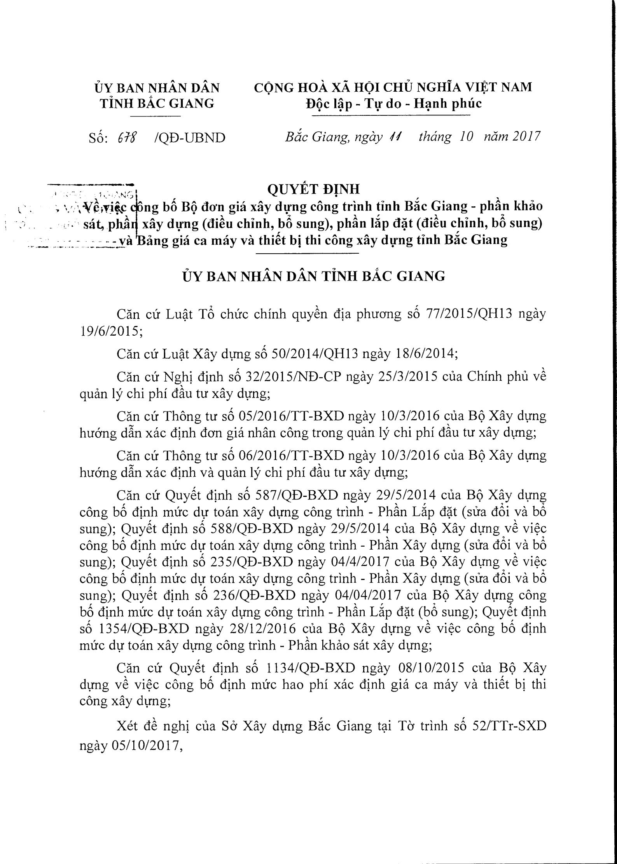 Đơn giá XDCT tỉnh Bắc Giang theo Quyết định 678