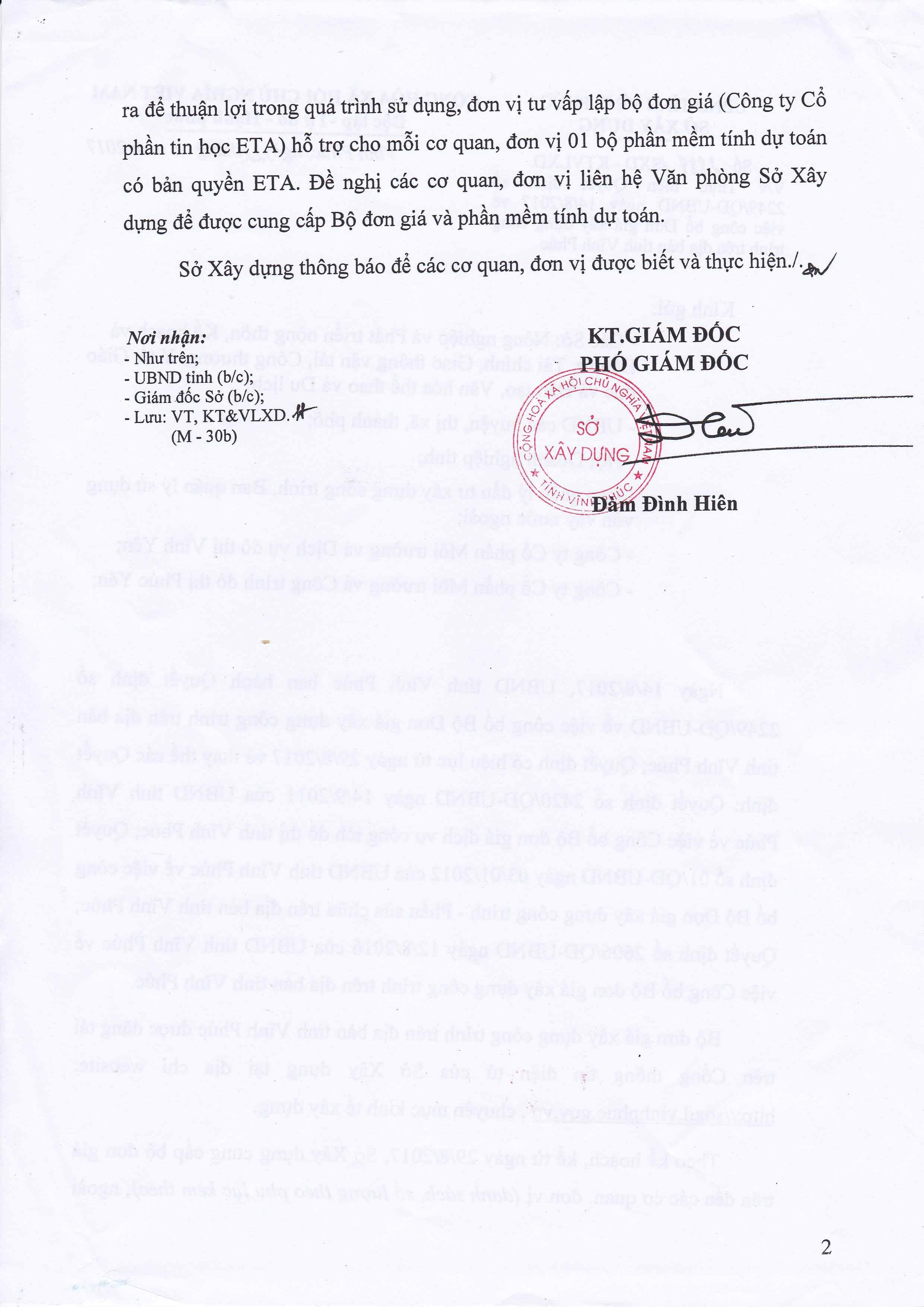 Đơn giá XDCT tỉnh Vĩnh Phúc theo Quyết định 2249/QĐ-UBND