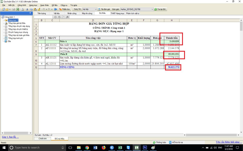 Hướng dẫn tạo nhóm hạng mục trên dự toán ETA