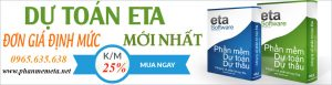 Bảng giá phần mềm dự toán Eta