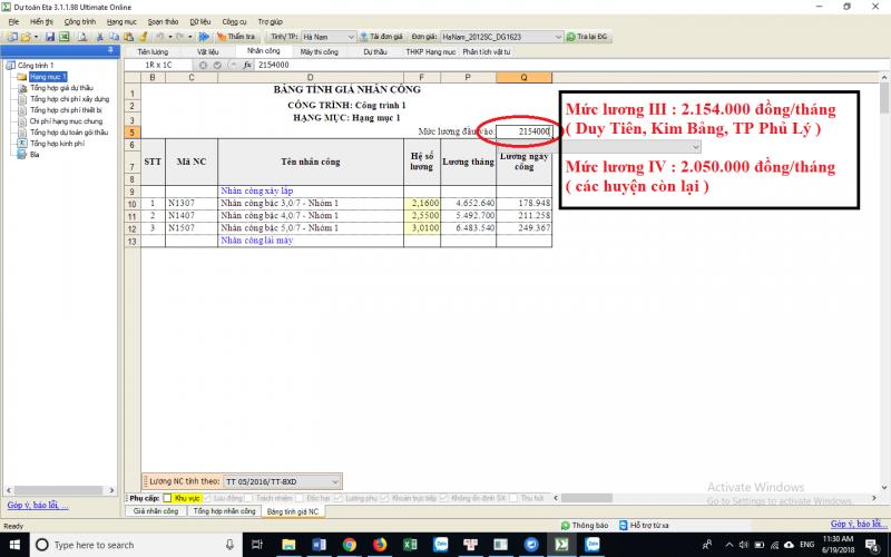 Hướng dẫn xác định đơn giá nhân công Hà Nam