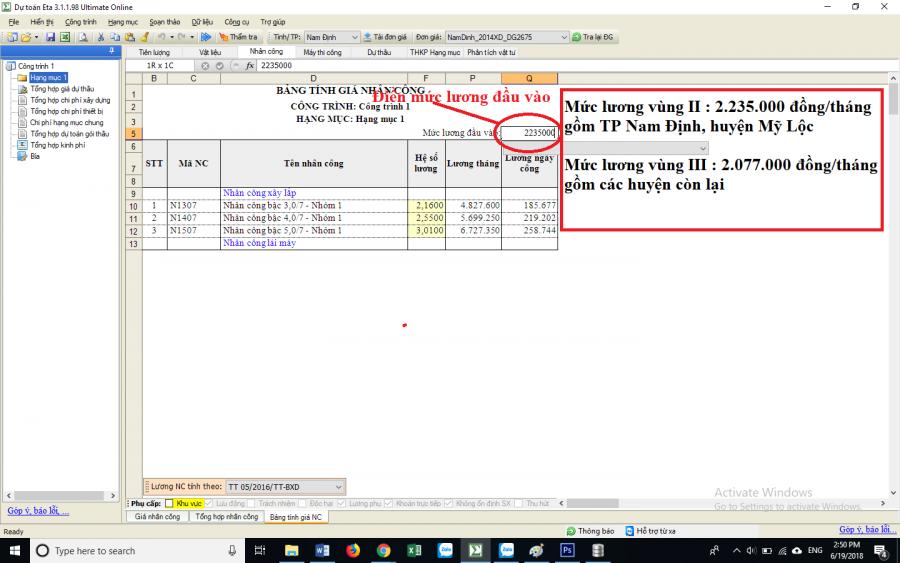 Hướng dẫn xác định đơn giá nhân công Nam Định