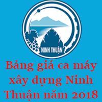Bảng giá ca máy xây dựng Ninh Thuận năm 2018