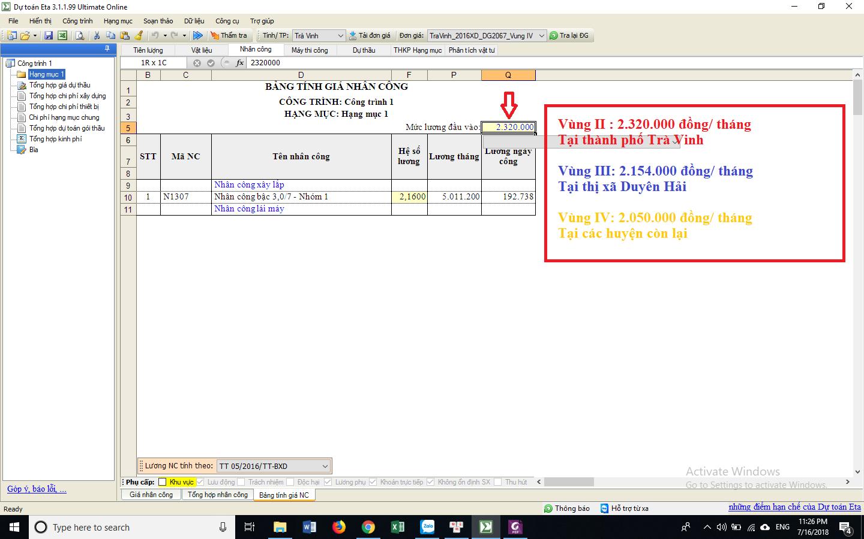 Hướng dẫn xác định đơn giá nhân công Trà Vinh