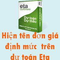 Hiện tên đơn giá trên phần mềm dự toán Eta