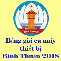 Bảng giá ca máy thiết bị Bình Thuận năm 2018