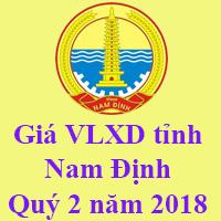 Giá VLXD tỉnh Nam Định Quý 2 năm 2018
