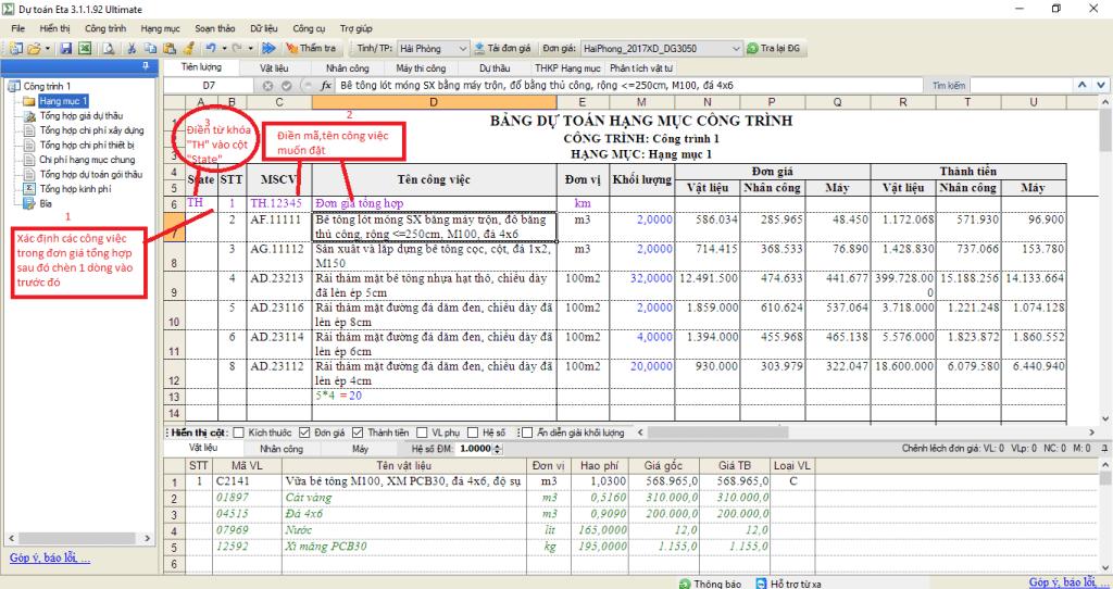 Tạo đơn giá tổng hợp phần mềm dự toán Eta