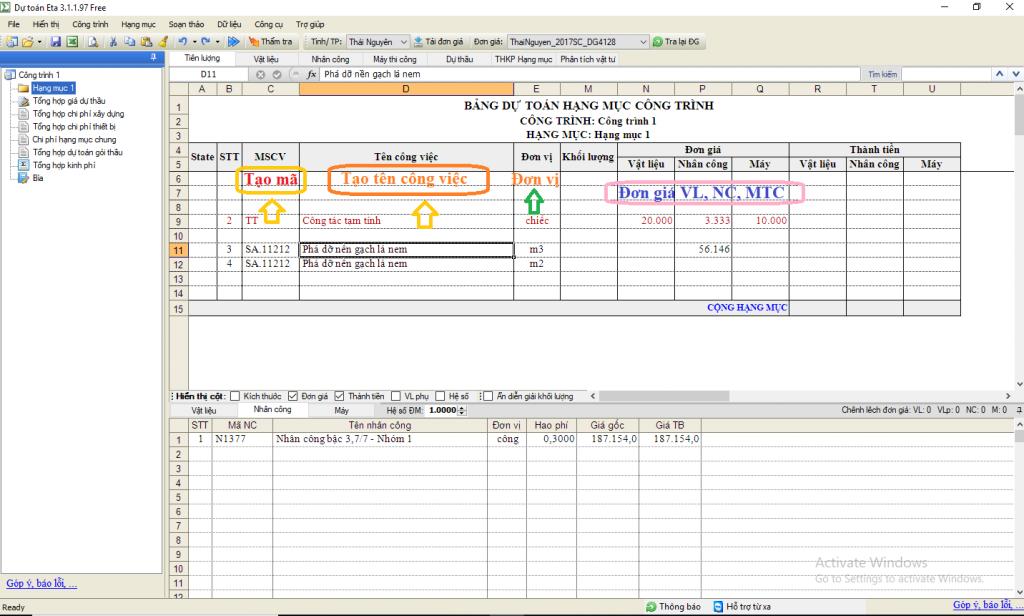 Hướng dẫn tạo đơn giá tạm tính dự toán Eta