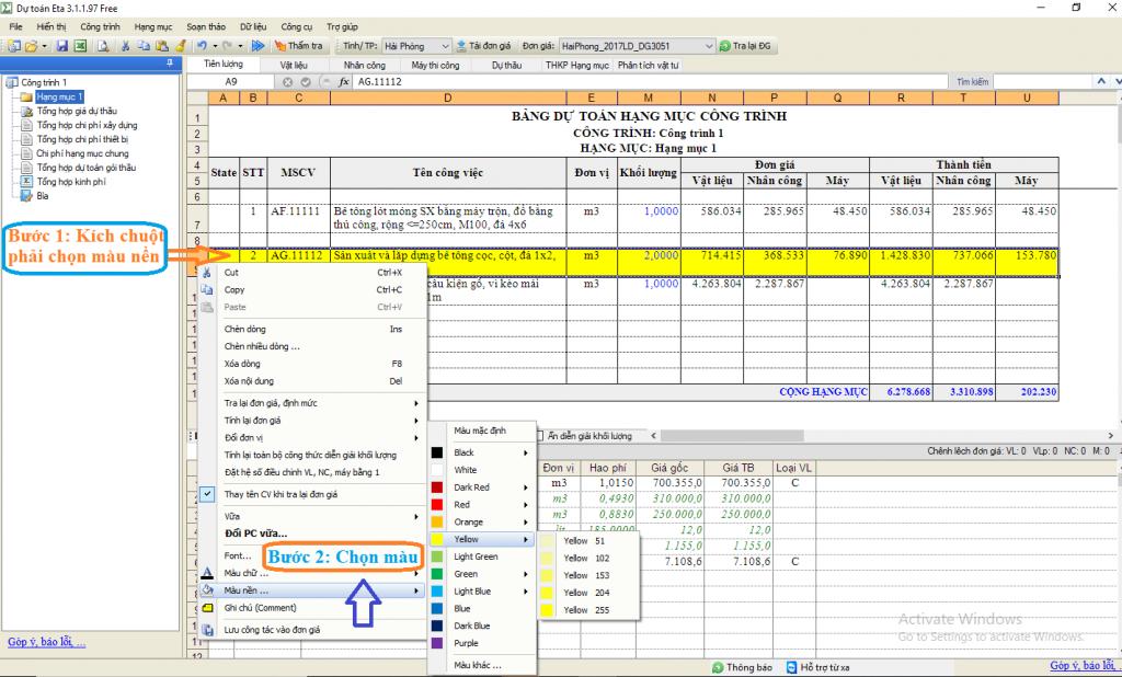 Hướng dẫn tạo ghi chú phần mềm dự toán Eta