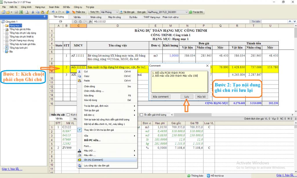 Hình ảnh hướng dẫn tạo ghi chú bằng màu sác trên phần mềm dự toán Eta