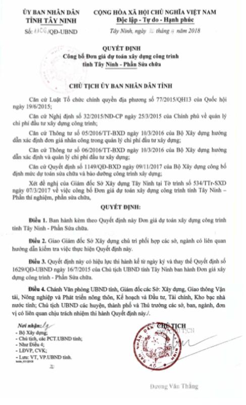 Đơn giá Sửa chữa tỉnh Tây Ninh năm 2018