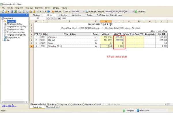 áp vật liệu liệu hàng tháng trên dự toán Eta