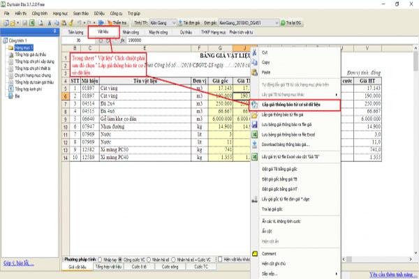 áp giá vật liệu trên phần mềm dự toán Eta