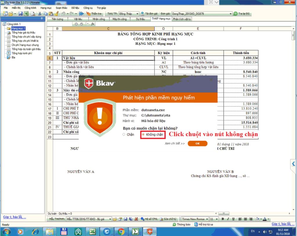 Lỗi dự toán Eta không xuất ra được Excel