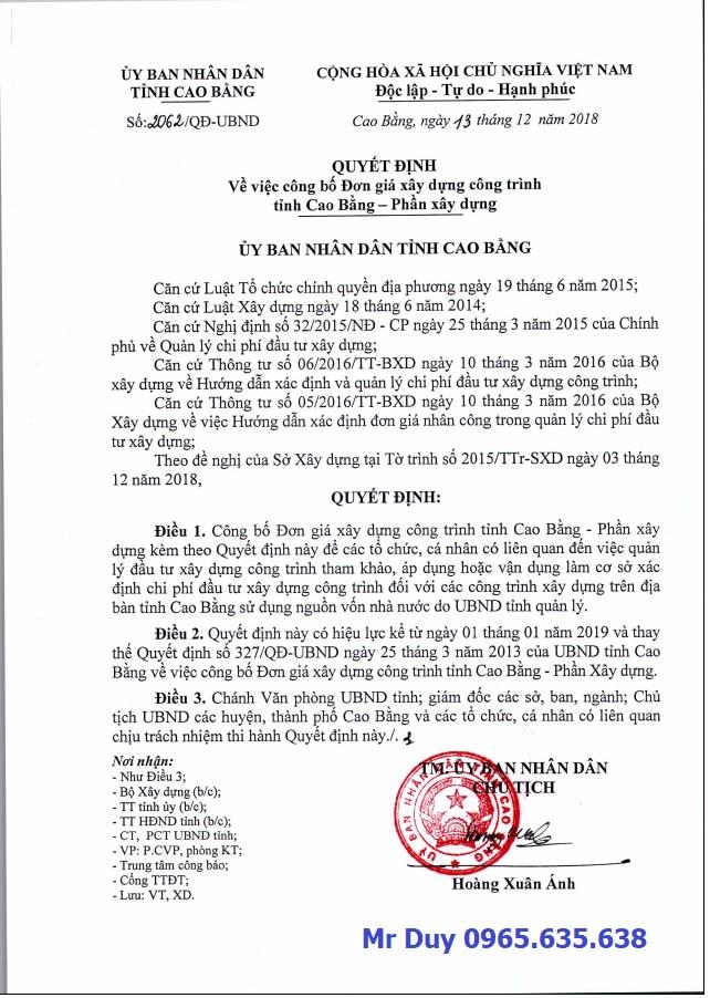 Đơn giá xây dựng tỉnh Cao Bằng năm 2019
