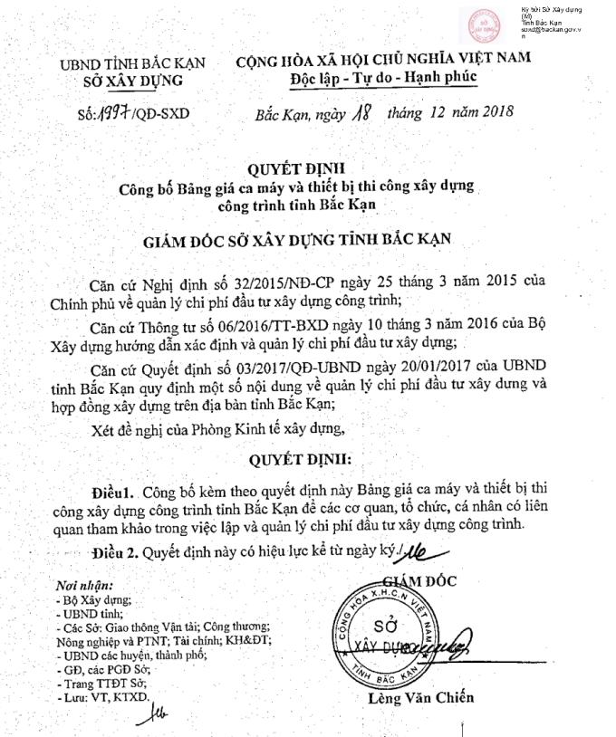 Bảng giá ca máy tỉnh Bắc Kạn theo Quyết định 1997/QĐ-SXD