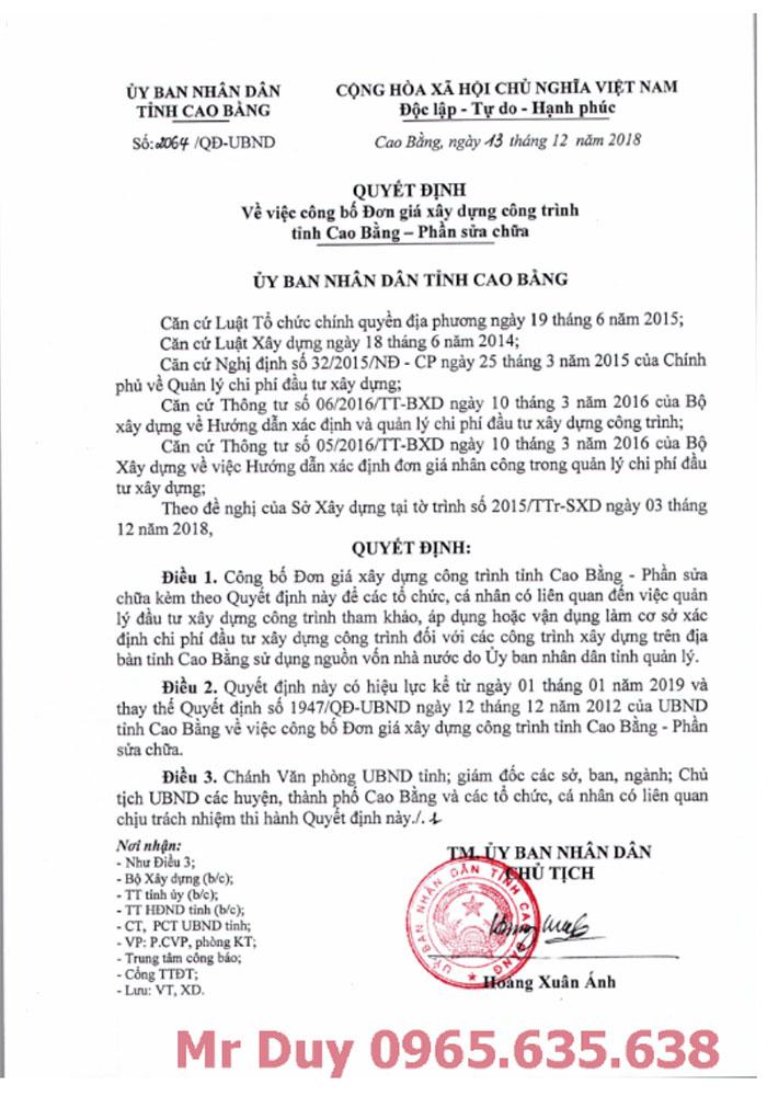 Đơn giá xây dựng tỉnh Cao Bằng năm 2018