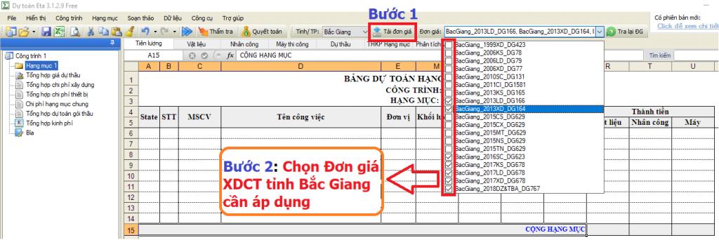 Hướng dẫn lập dự toán tỉnh Bắc Giang năm 2019