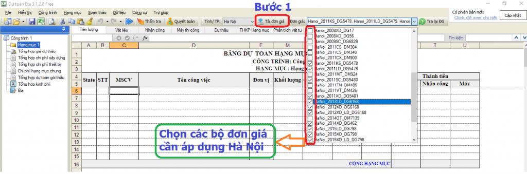 Hướng dẫn lập dự toán trên địa bàn thành phố Hà Nội