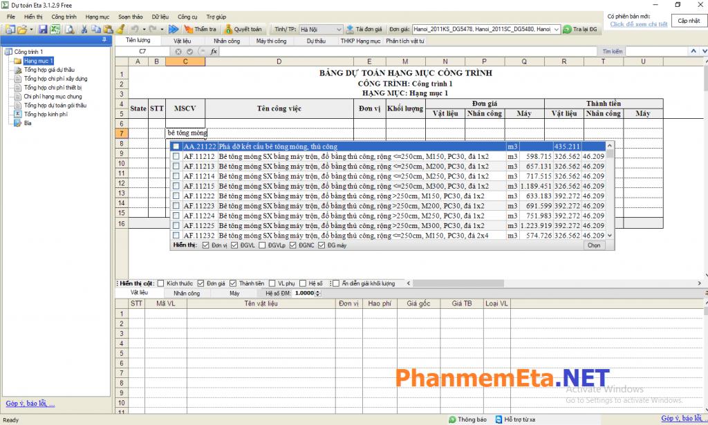 Phần mềm dự toán xây dựng miễn phí bằng Excel