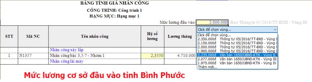 hướng dẫn lập dự toán tỉnh Bình Phước