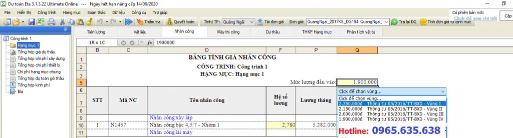 hướng dẫn lập dự toán tỉnh Quảng Ngãi