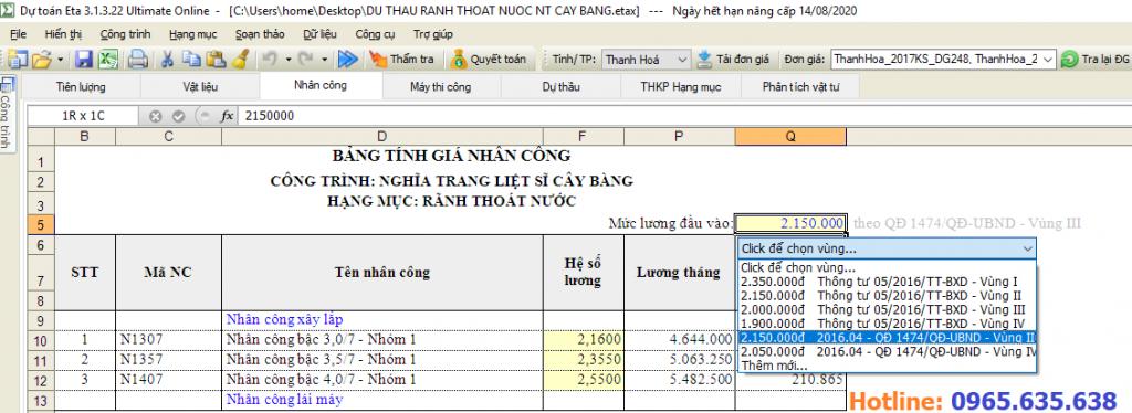 Hướng dẫn lập dự toán tỉnh Thanh Hóa
