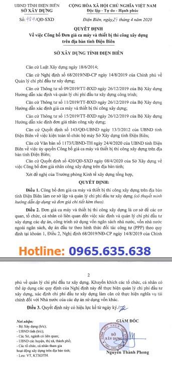 Bảng giá ca máy tỉnh Điện Biên năm 2020 theo QĐ 484/QĐ-SXD
