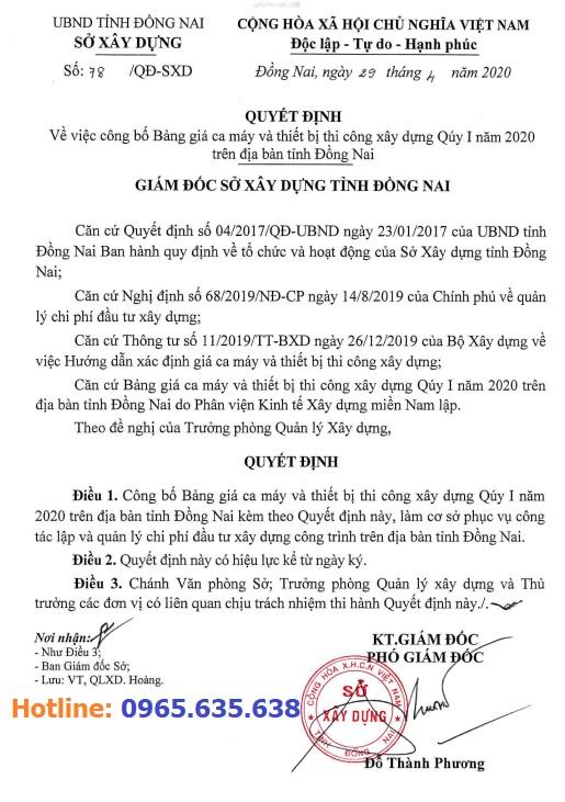 Bảng giá ca máy tỉnh Đồng Nai năm 2020 theo Quyết định 78/QĐ-SXD