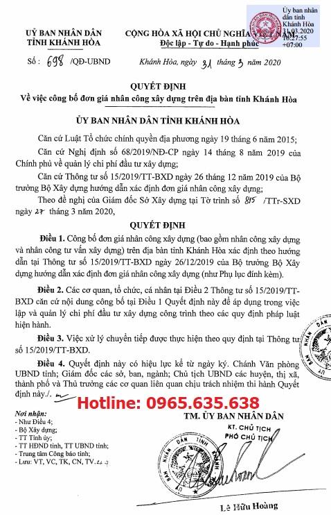 Bảng giá ca máy tỉnh Khánh Hòa năm 2020 theo Quyết định 697/QĐ-UBND