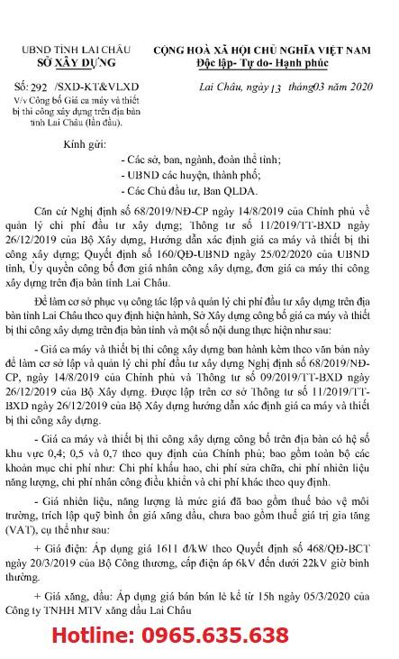 Bảng giá ca máy tỉnh Lai Châu năm 2020 theo Công văn 292/SXD-KT&VLXD