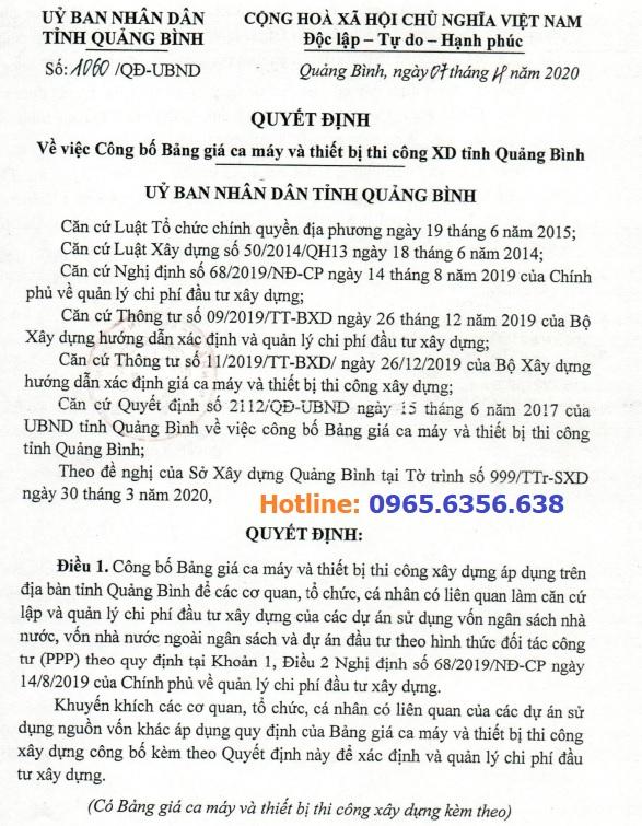 Bảng giá ca máy tỉnhQuảng Bình năm 2020 theo Quyết định 1060/QĐ-UBND