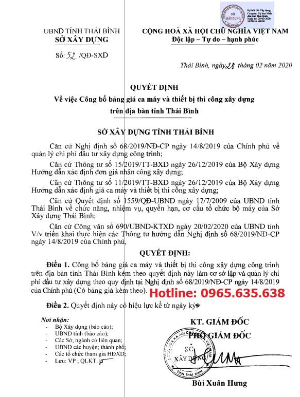Bảng giá ca máy tỉnh Thái Bình năm 2020