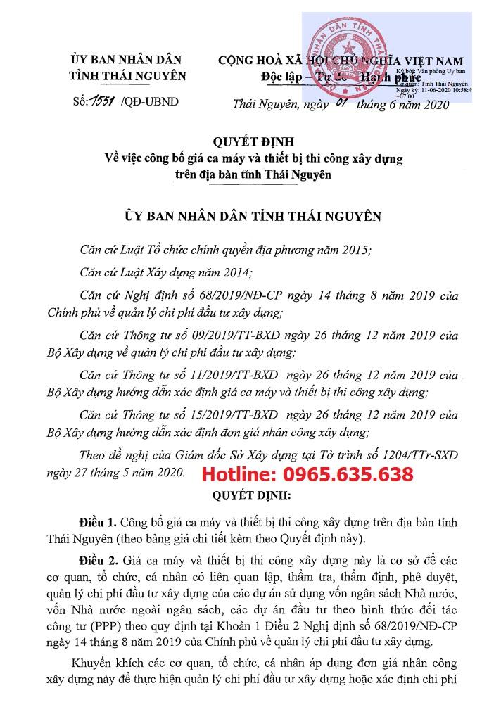 Bảng giá ca máy tỉnh Thái Nguyên năm 2020