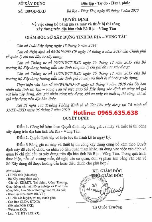 Bảng giá ca máy tỉnh Bà Rịa Vũng Tàu năm 2020