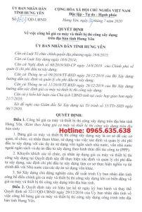 Bảng giá ca máy tỉnh Hưng Yên năm 2020