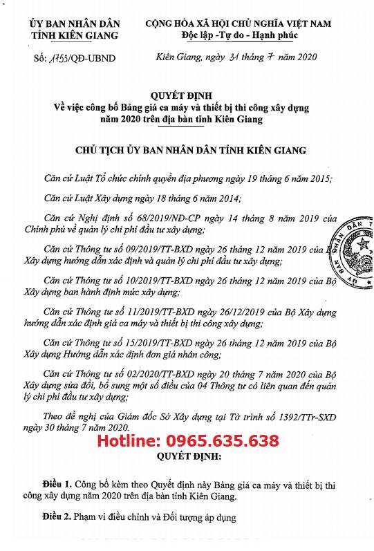Bảng giá ca máy tỉnh Kiên Giang năm 2020