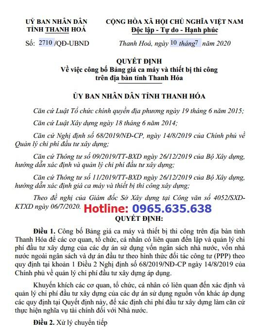 Bảng giá ca máy tỉnh Thanh Hóa năm 2020 theo Quyết định 2710/QĐ-UBND