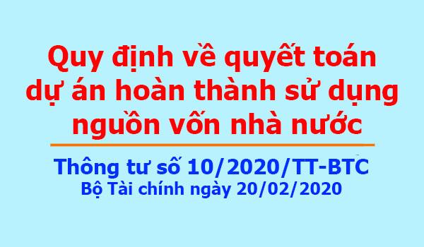 Thông tư số 10/2020/TT-BTC Bộ Tài chính ngày 20/02/2020