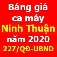 Quyết định 227/QĐ-UBND Bảng giá ca máy tỉnh Ninh Thuận