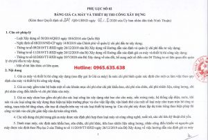 Bảng giá ca máy tỉnh Ninh Thuận 2020
