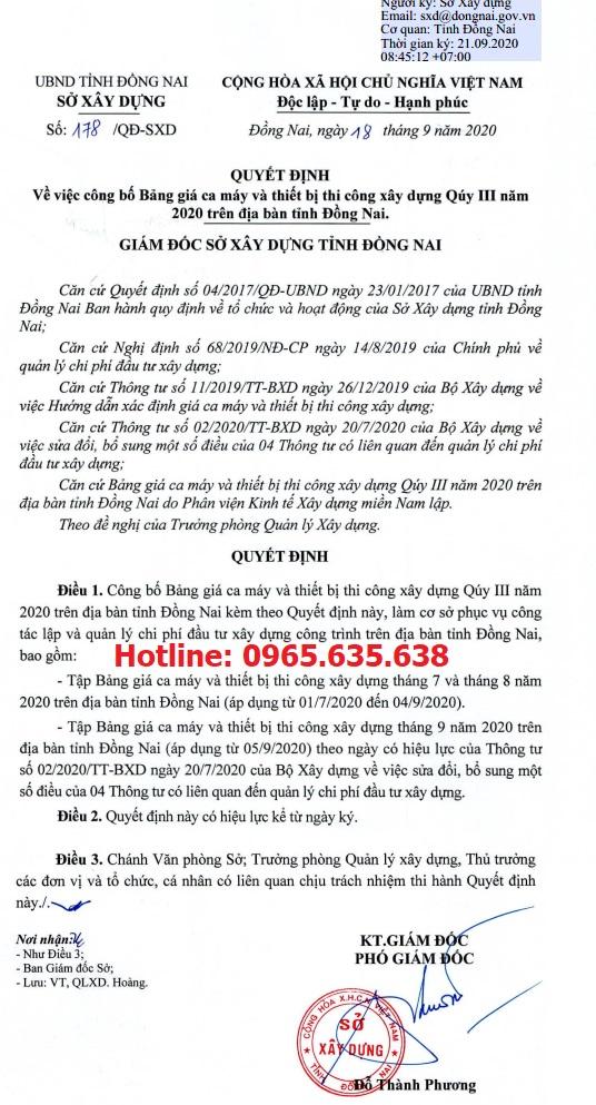 Bảng giá ca máy tỉnh Đồng Nai năm 2020