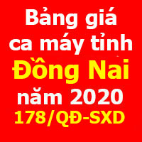 Bảng giá ca máy tỉnh Đồng Nai năm 2020 theo Quyết định 178/QĐ-SXD