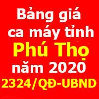 Quyết định 2324/QĐ-UBND Bảng giá ca máy tỉnh Phú Thọ