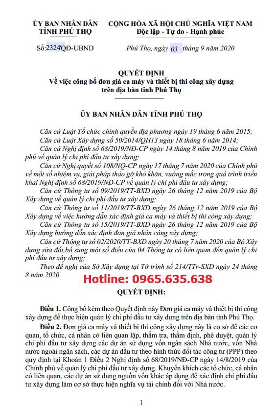 Bảng giá ca máy tỉnh Phú Thọ năm 2020