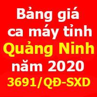 Bảng giá ca máy tỉnh Quảng Ninh năm 2020 quyết định 3691/QĐ-SXD