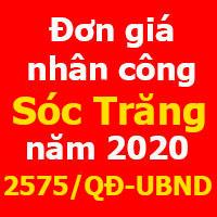 Quyết định 2575/QĐ-UBND đơn giá nhân công xây dựng tỉnh Sóc Trăng