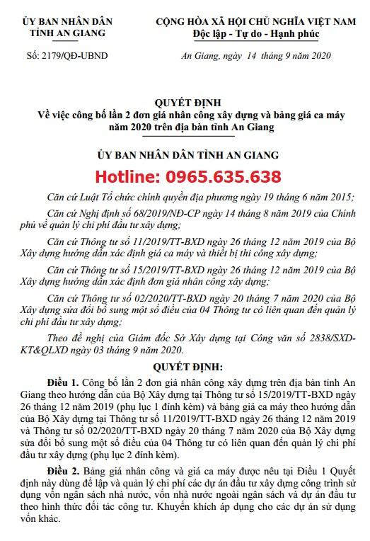 Quyết định 2179/QĐ-UBND Bảng giá ca máy An Giang 2020