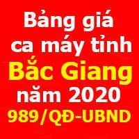Bảng giá ca máy tỉnh Bắc Giang năm 2020